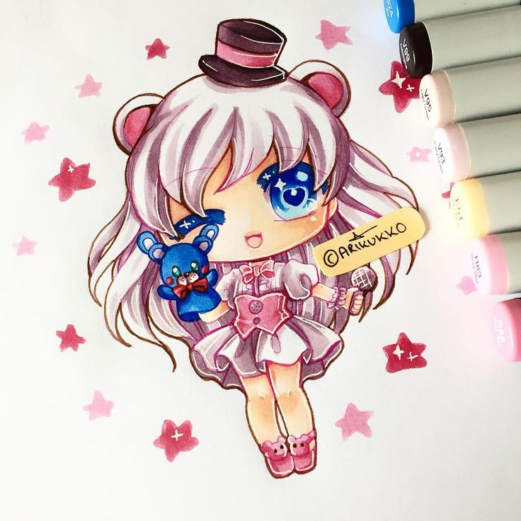 Quick mini-chibi of a humanised Funtime Freddy (From FNAF: Sister Location)…