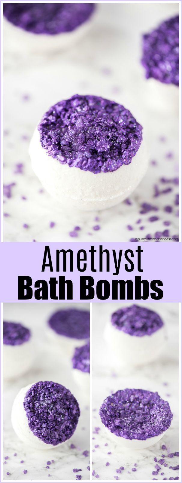 DIY Amethyst Bath Bombs – How to make bath bombs inspired by amethyst stones made with sea salts and lavender essential oil. #soapmaking