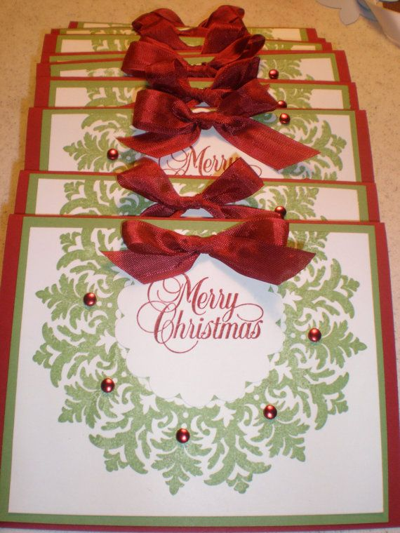 Christmas wreath by masking Medallion: Stampinup, Christmas Wreaths, Cards Ideas, Diy Gifts, Holidays Cards, Merry Christmas, Handmade Christmas Cards, Xmas Cards, Stampin Up Cards