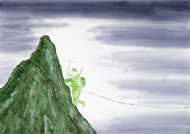 Pierluigi Pusole, Scalatore, 2011, Acrylic and watercolour on paper, 70 x 100 cm