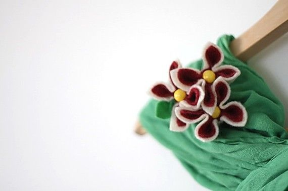 Cranberries in White Chocolate Flower Brooch by GoodFloristDesign, $19.00
