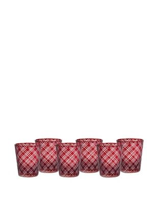 Impulse! Set of 6 Monceau Rocks Glasses (Ruby)