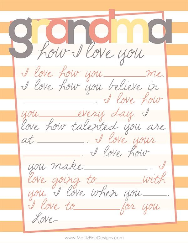 Sweet fill-in-the-blank free Mother's Day Printable for Grandma. Perfect last minute gift or give it along with a card!