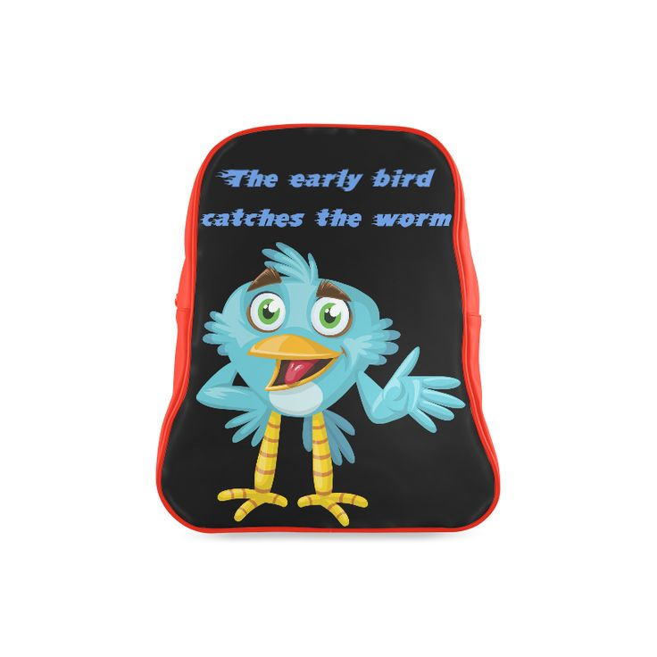 Light blue cute funny cartoon bird saying. The early bird catches the worm. School Backpack (Model 1601)(Large)