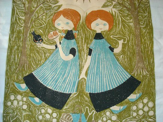 Danish hand printed fabric wall hanging Aase Og Jangaard by EMWvintage, $40.00