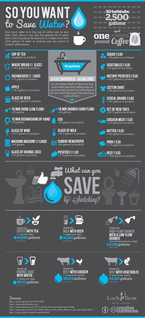 So you want to save water? How much water is in that cup of coffee next to your desk? Well, about a cup, plus the bathtub full of water that it took t #viqua #sterilightWater Conservative, Water Saving Tips, Water Infographic, Shower Head, Projects Ideas, Saving Water, Water Usage, Infographic Design, Green Living