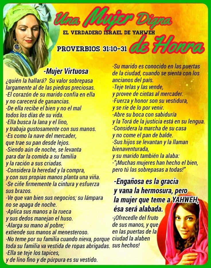 """LA MUJER VIRTUOSA   PROVERBIOS 31:21 AL 31:30   2da parte de 2       UNA ISHA/MUJER """"ESPOSA"""" DIGNA DE HONRA     Lo que las mujeres pued..."""
