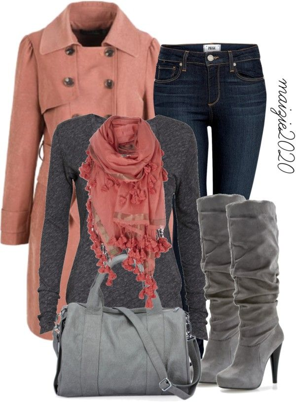 Do this: salmon coat, gray or peach sweater, gray jeans, gray scarf