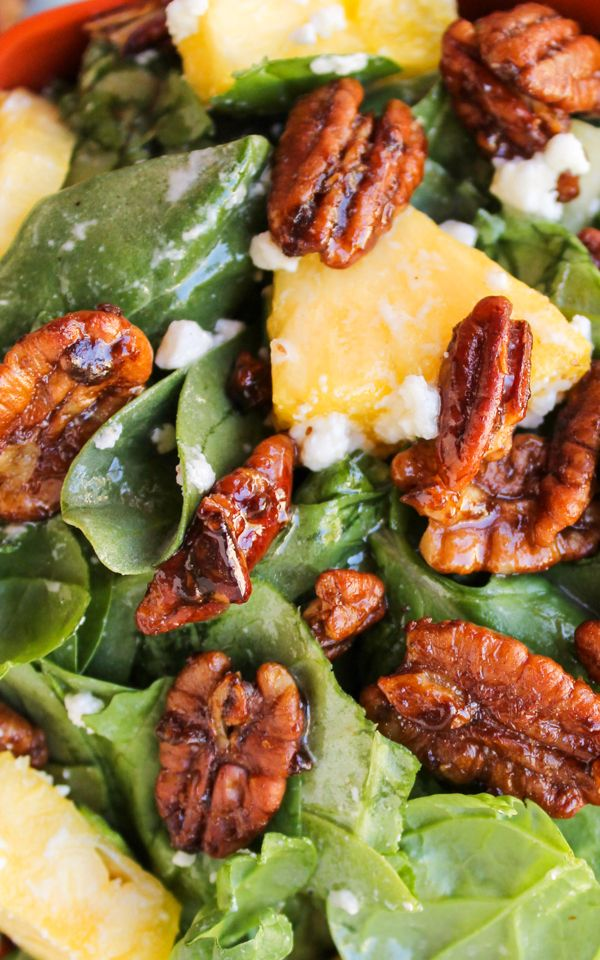Pineapple Spinach Salad by thefoodcharlatan #Salad #Spinach #Pineapple #Pecan #Healthy