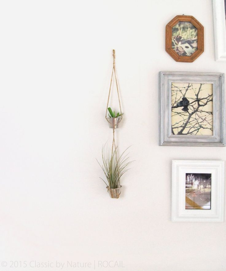 For Air Plant and Tiny Succulent: Metallic Grey Double Hanging Planters, Wall decoration by ClassicByNature on Etsy