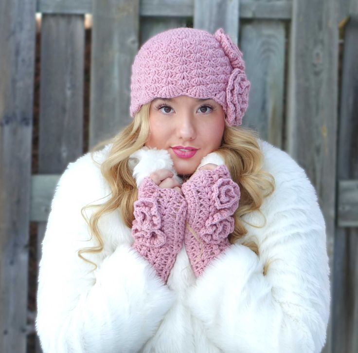 Crochet set ROSES,Woman crochet hat,mittens. Made to order.Winter woman set,ear warmers,mittens by RSdesignyarnwork on Etsy