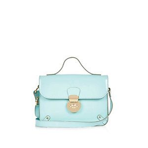 Girls light green lock cross body handbag