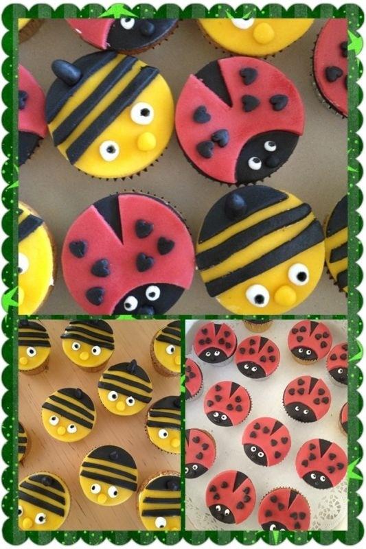 Cupcake lieveheersbeest/bijtjes