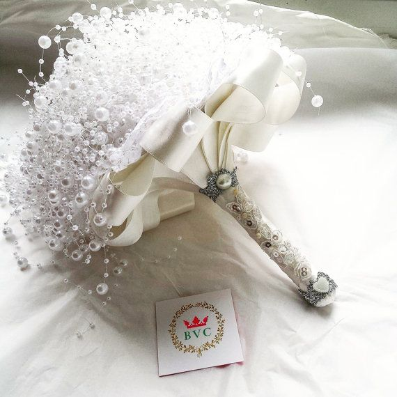 pearl wedding bouquet ivory Pearl bouquet by BespokeVintageCastle