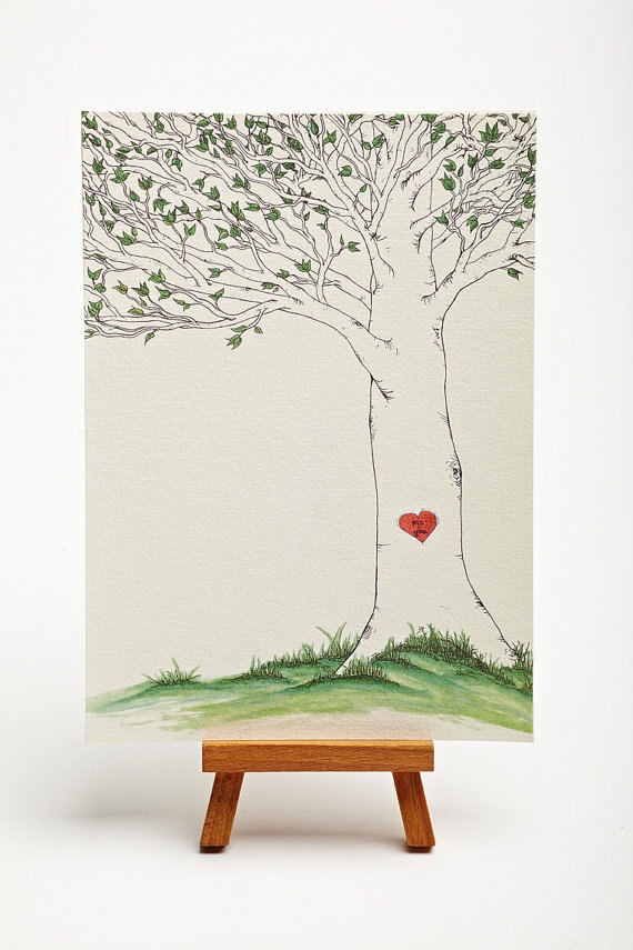 Tree Hanging Heart Illustrated Art 5x7 Print - Original Frameable Artwork