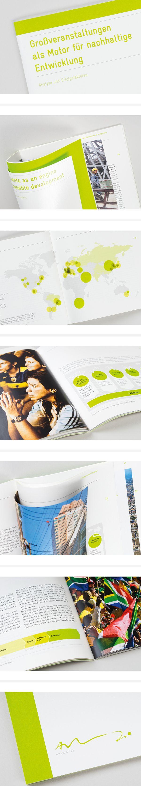 """Broschüre """"Großveranstaltungen als Motor für nachhaltige Entwicklung"""", entwickelt für AgenZ – Agentur für marktorientierte Konzepte. #broschüre #editorialdesign #layout"""