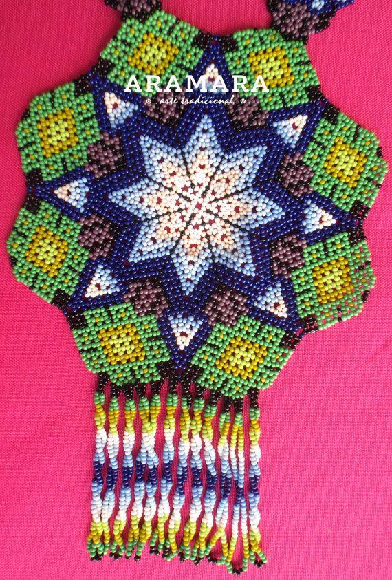 Collar mexicana Huichol cuentas estrellas y COG-0001 de collar