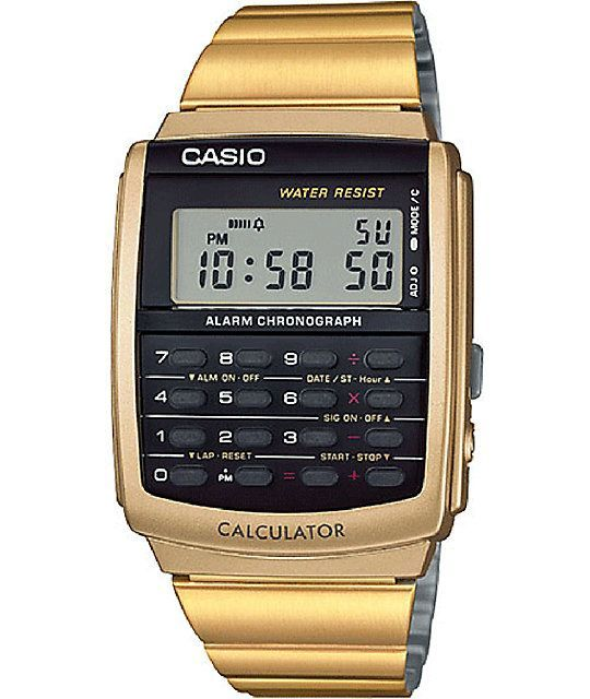 Casio released this Gold Calculator Watch to be a part of their Vintage Collection. Featuring a water-resistant design including a mini calculator below the mineral crystal digital display. Durably crafted from polished metal, this gold timepiece fuses vi