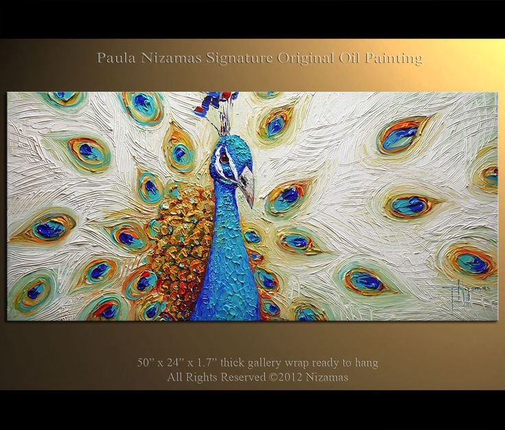peacock art | ORIGINAL PEACOCK Art LARGE Turquoise Blue Peacock Painting Oil on ...