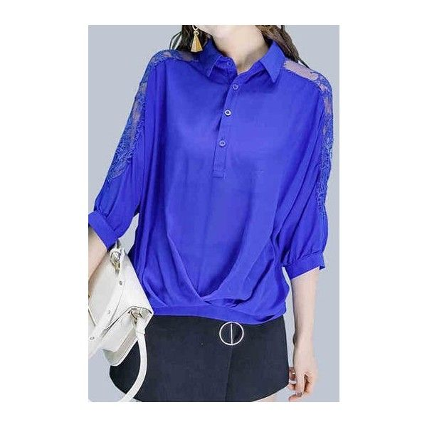 Rotita Lace Panel Button Neck Royal Blue Blouse ($33) ❤ liked on Polyvore featuring tops, blouses, blue, 3/4 length sleeve tops, blue top, electric blue blouse, three quarter sleeve blouse and pattern blouse
