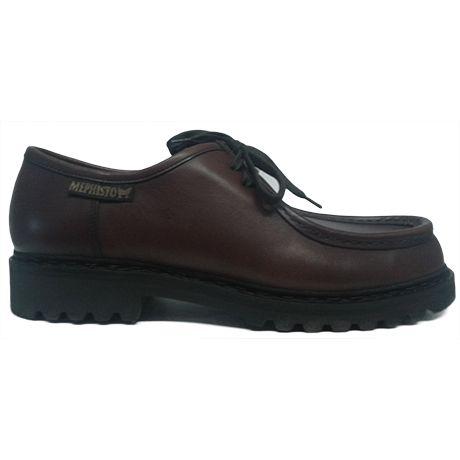 Zapato blucher bordón tipo tanque en marrón medio de Mephisto vista lateral