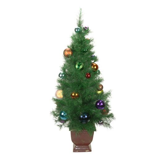4 Ft. Potted Pre-Decorated Multicolor Ball Ornament Artificial Christmas Tree, Unlit