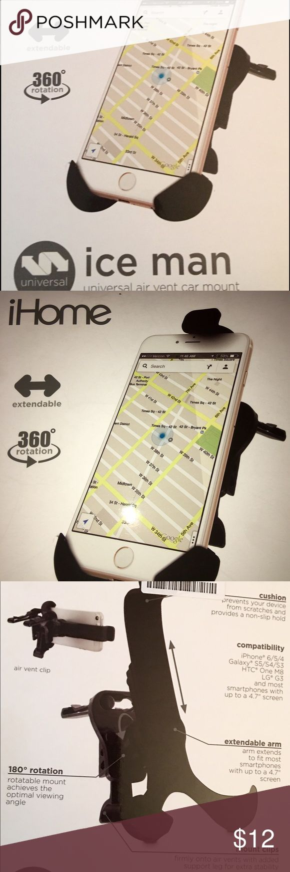 iHome ice man Car Cell Phone Holder Easy to install car vent cellphone holder. Like New with box and manual. Fits All models. ihome Accessories Phone Cases
