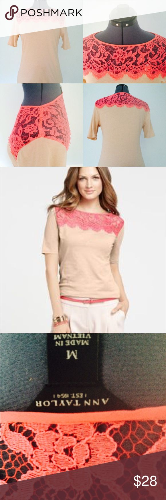 ANN TAYLOR Yoke Tee beige and Pink lace ANN TAYLOR Yoke Tee beige and Pink lace Top. Sz M. Ann Taylor Tops Tees - Short Sleeve