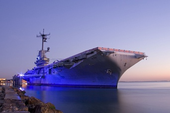 """Known as the """"Blue Ghost,"""" the USS Lexington was built in 1942 and used in WWII and subsequent conflicts. It's now a museum in Corpus Christi."""