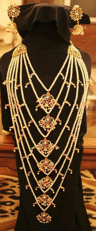 Bridal layered pearl necklace with jhumkis.