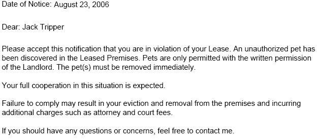 Lease Violation Notice Tenant Violation Notices Ez