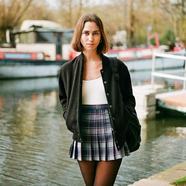 Amy in the Wool Club Jacket, Plaid Tennis Skirt and sheer hosiery. London, 2014. #AmericanApparel #AABTS