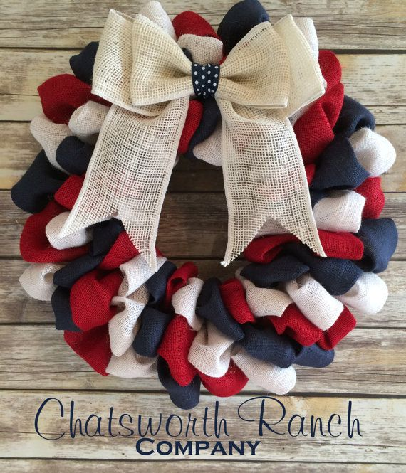 Hey, I found this really awesome Etsy listing at https://www.etsy.com/listing/237900035/patriotic-burlap-welcome-door-wreath
