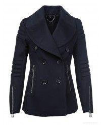 Belstaff Ladies Croft Moto Pea Coat - Black