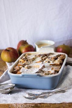 Auflauf mal nicht herzhaft sondern mal süß, einfach und echt lecker Apfel-Zwieback-Auflauf mit Vanillesoße.