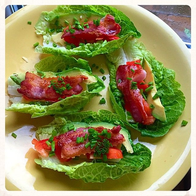 lunch/snack on a busy day - lettuce, bacon and avocado boats with a little cheddar  quick and yummy...
