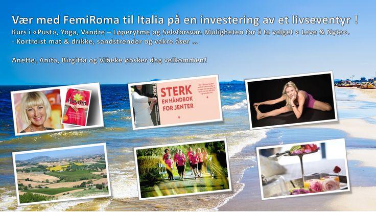 """Bli med på noen fantastiske dager i Italia ... Bli med å """" Leve & Nyte"""" ... Kursene er tilpasset alle """"Former & Form"""", kjønn og alderer .... Tenk ... vakre aktive høstdager i Italia... Kortreist mat, vin fra åsene rundt byen, vi tar hånd om deg og du investerer i et overskudd og livsglede ... Velkommen <3  http://blogg.femiroma.no/?p=214  Klem Vibeke"""
