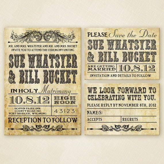 Western Wedding Invitation Set  PRINTABLE by sparkmyminddesigns, $25.00 This has the save the date and rsvp cards!