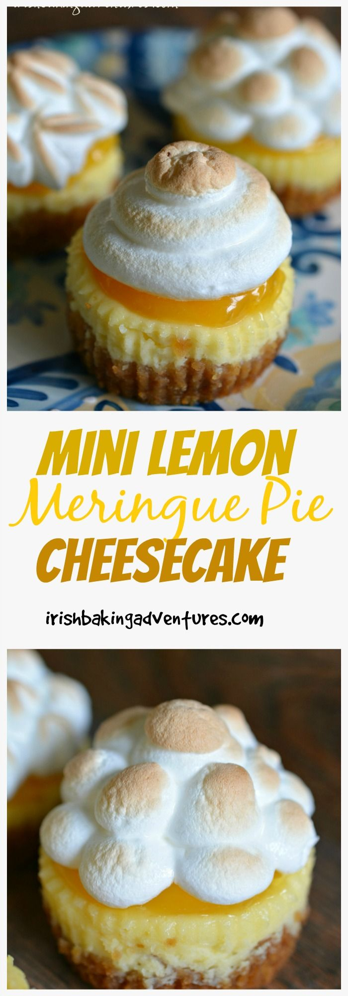 Mini Lemon Meringue Pie Cheesecake. A scrumptious super easy cheesecake with all the deliciousness of a Lemon Meringue Pie. Nostalgia at its best