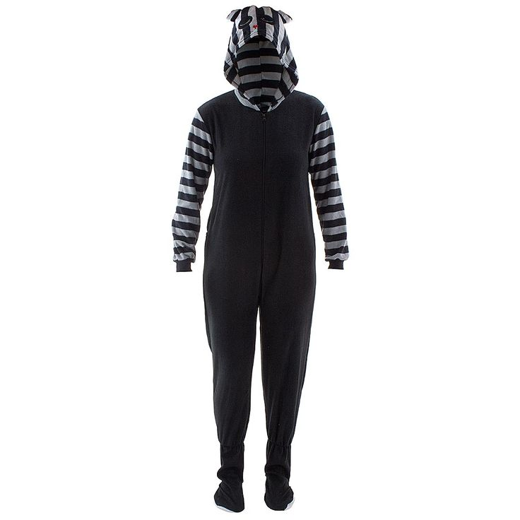 Raccoon Striped Hooded Footed Pajamas for Women - Click to enlarge
