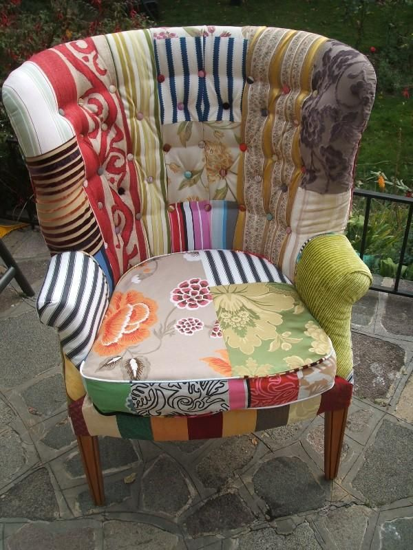 ~ Patchwork Furniture. Would be great for my reading room!
