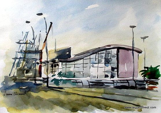 Maritim station.   Watercolor.