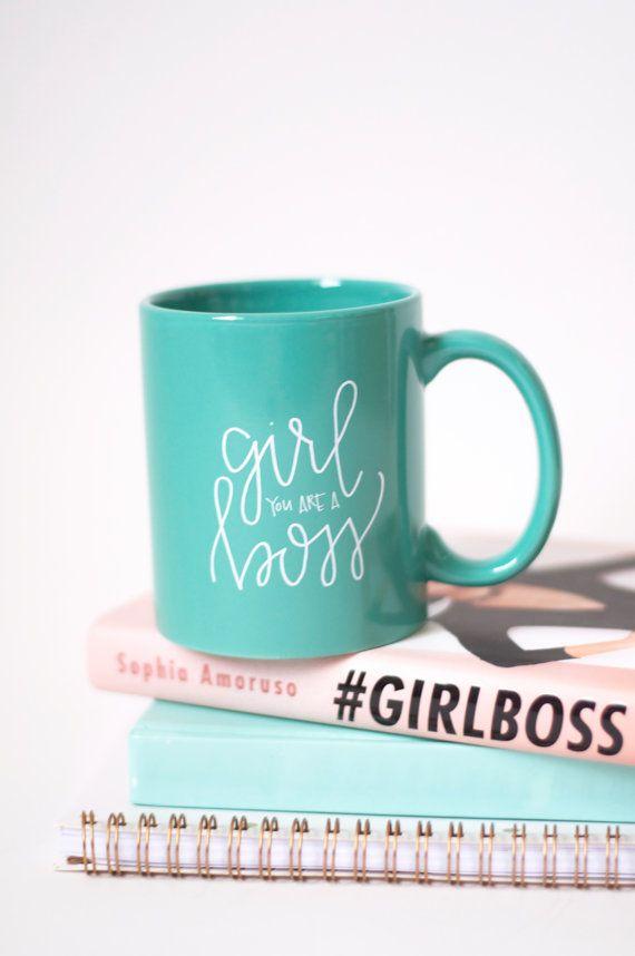 Girl Boss Mug // Teal hand lettered mug by ChalkFullofLove on Etsy