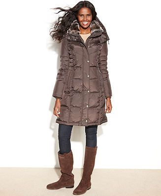 London Fog Coat, Hooded Faux-Fur-Trim Quilted Long-Length Puffer - Coats - Women - Macy's