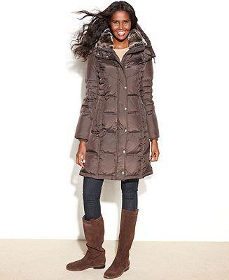London Fog Coat, Hooded Faux-Fur-Trim Quilted Long-Length Puffer - Coats - Women - Macy's
