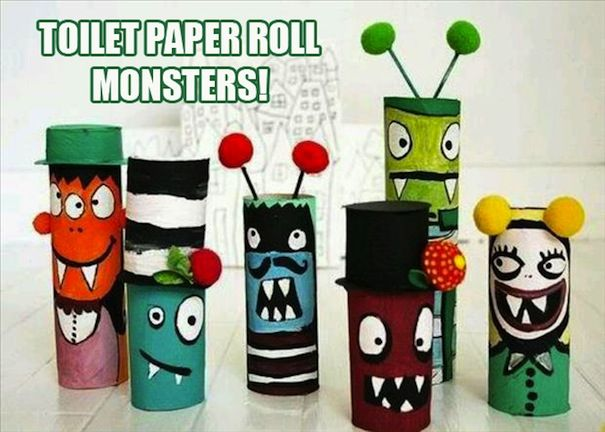 Toilet paper rolls made into MONSTERS