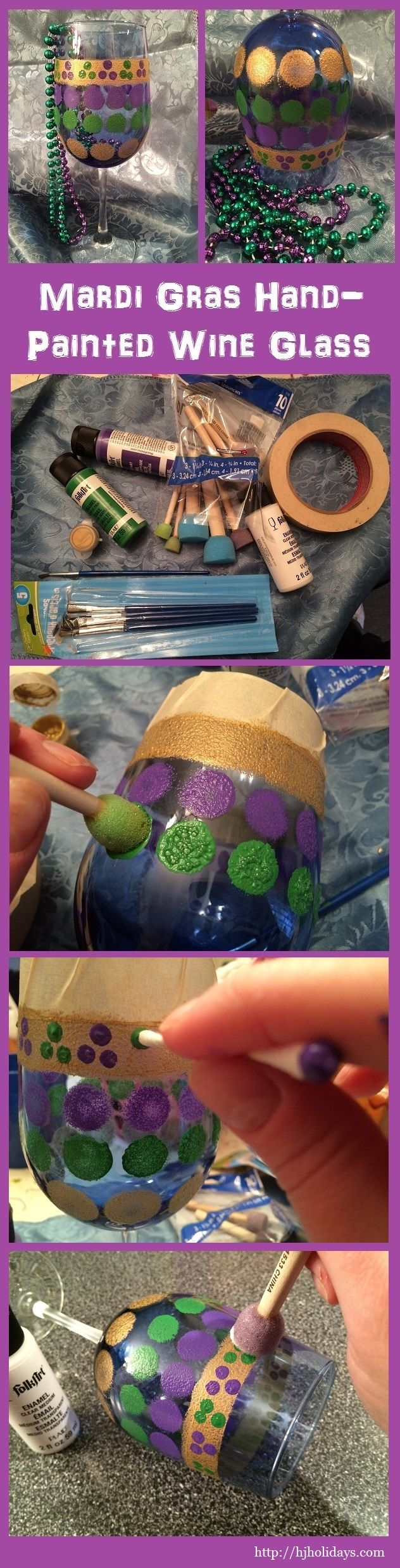 Mardi Gras Hand Painted Wine Glass Tutorial http://hjholidays.com/diy-crafts