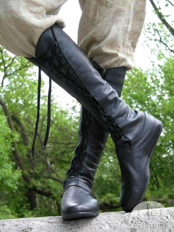 """14% DISCOUNT! Medieval Men's High Leather Boots """"Forest""""; Black leather shoes with lacing"""
