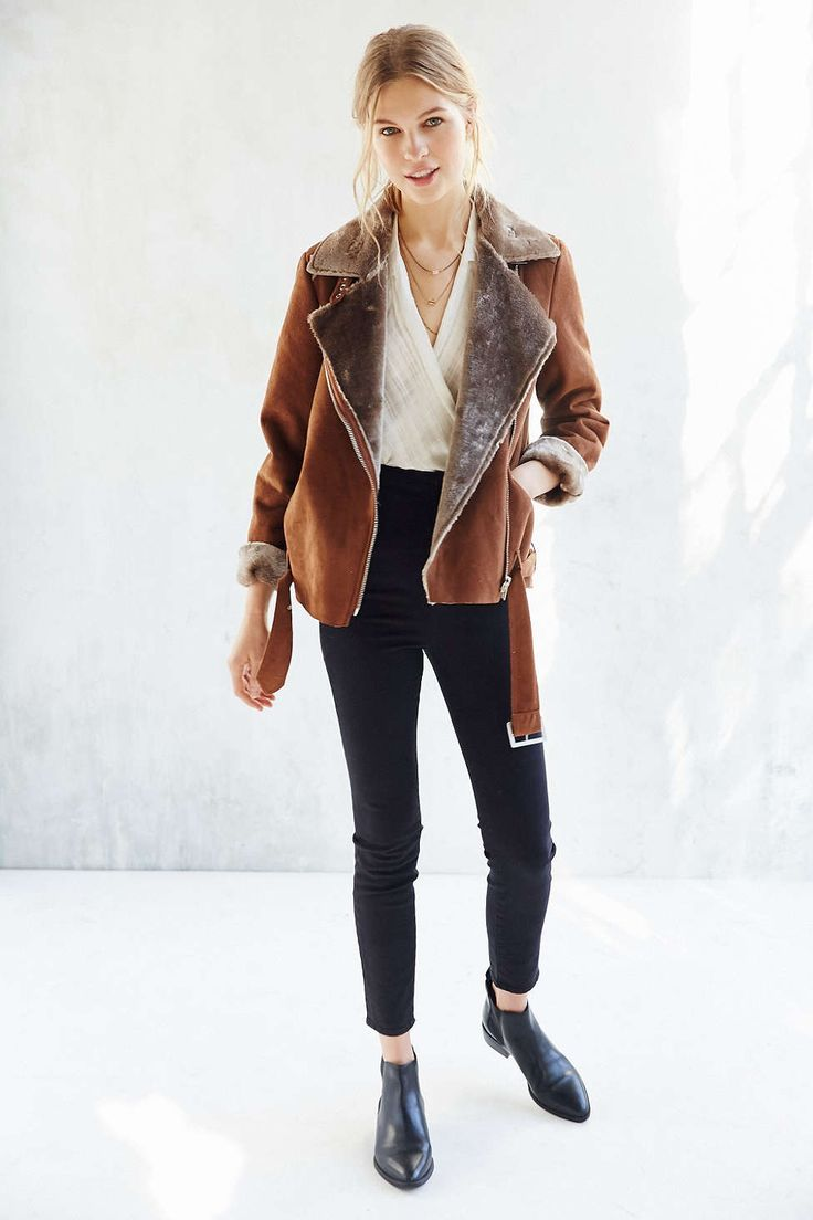 Silence + Noise Faux Shearling Aviator Jacket brown + black pointed chelsea boots | Urban Outfitters