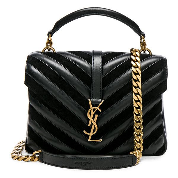 Saint Laurent Medium Leather & Suede Patchwork Monogramme College Bag ($2,485) ❤ liked on Polyvore featuring bags, handbags, shoulder bags, handbag's, bolsas, bolsos, quilted leather handbags, quilted leather purse, quilted hand bags and suede purse
